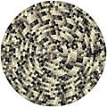 Handmade Soho Mosaic Black New Zealand Wool Rug (6&#39; Round)