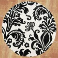 Hand-tufted Quill Feather White/ Black Wool Rug (6&#39; Round)