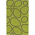 Alliyah Handmade Modern Rock Green Geometric New Zealand Blend Wool Rug (8' x 10')
