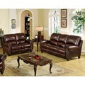 Abbyson Living Madison Premium Top-grain Leather Pushback Reclining Sofa and Loveseat