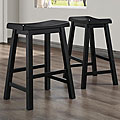 ETHAN HOME Salvador Saddle Back 24-inch Stool in Black Sand-Through (Set of 2)