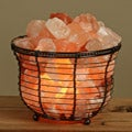 WBM Himalayan Crystal Salt Round Basket Lamp