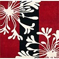 Hand-tufted Metro Classic Red/ Black Wool Rug (6&#39; x 6&#39;)