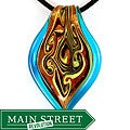 Murano Inspired Glass Blue Swirl Twisted Leaf Pendant