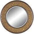 Round Framed Dark Gold Wall Mirror