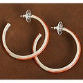 Sterling Silver Red Coral Inlay Hoop Earrings (Thailand)