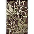 Hand-hooked Tropic Brown Synthetic Rug (5&#39; x 8&#39;)