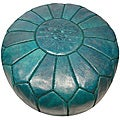 Leather Aqua Green Pouf Ottoman (Morocco)