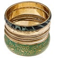 Set of 7 Brass and Resin Green Tropic Bloom Bangles (India)