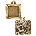 Beadaholique Goldplated Pewter Square Frame Pendants (Set of 2)