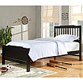Simone Black Twin-Size Slatted Headboard Bed