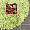 Hand-woven Bliss Lime Green Shag Rug (4' Round)