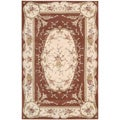 Hand-tufted French Empire Orange Floral Wool Rug (7'3 x 9'3)
