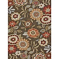 Hand-hooked Charlotte Brown Rug (5&#39; x 7&#39;6)