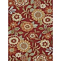 Hand-hooked Charlotte Red Rug (7&#39;6 x 9&#39;6)