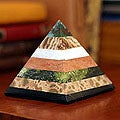 Handcrafted Multi-gemstone &#39;Be Positive&#39; Pyramid Sculpture (Peru)