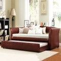 ETHAN HOME Deco Wine Red Faux Leather Daybed with Trundle