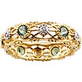 Michael Valitutti 14k Gold Green Apatite and Diamond Eternity Ring