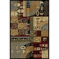Flora Collection Black/ Multi Runner Rug (2&#39;7 x 7&#39;3)