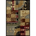 Flora Collection Black/ Multi Rug (5&#39;3 x 7&#39;3)