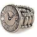 Silvertone Translucent Clock Face Stretch Ring