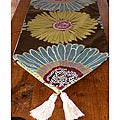 RLF Home Flower Power Tasseled Table Runner