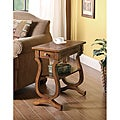Brown Hardwood Chair Side End Table with Drawer