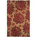 Hand-tufted Orange/ Red Wool Rug (5' x 8')