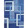 Handmade Metro New Zealand Wool Blend Blue Rug (5' x 8')