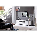 B-Modern 'Maya' White High-Gloss Stainless Steel TV Stand