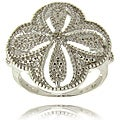 Finesque Sterling Silver Diamond Accent Flower Ring