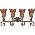 Marmount Vanity and Wall 4-light Antique Gold Finish with Art Nouveau Glass