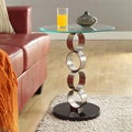 ETHAN HOME Ryde Running Circle Pillar Tempered Glass Steel End Table