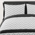 Sweet JoJo Designs Grey and Black Zig Zag 3-piece Full / Queen-size Bedding Set