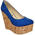 Toi et Moi Women's 'Gisele-03' Blue Suede Wooden Wedges
