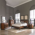 Lancashire Walnut 5-piece Curved Sleigh Queen-size Bedroom Set