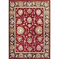 Taj Mahal Handmade Aurora Red Wool Rug (9&#39;x12&#39;)