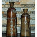 Set of Two Hand-wrought Decorative Iron Vases (India)