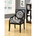 Zebra Fabric/Black Solid Wood Accent Chair
