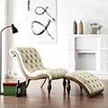 Bellagio Beige Linen Button Tufted Curved Chaise Lounge with Ottoman