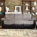 TRIBECCA HOME Coleford Two-tone Grey Black Tufted Transitional Double Reclining Sofa