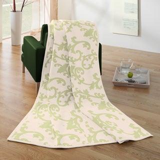 Bocasa Green Floral Woven Throw Blanket