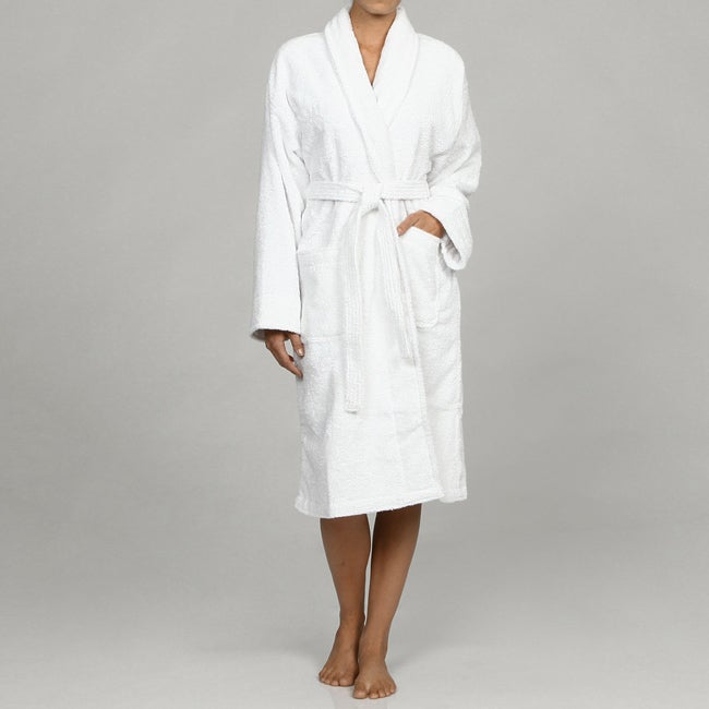 Unisex Pure White Rayon from Bamboo Spa Bath Robe