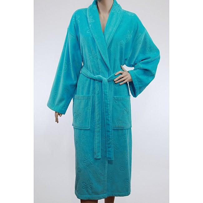Unisex Turquoise Blue Authentic Hotel Spa Floral Turkish Cotton Bath Robe