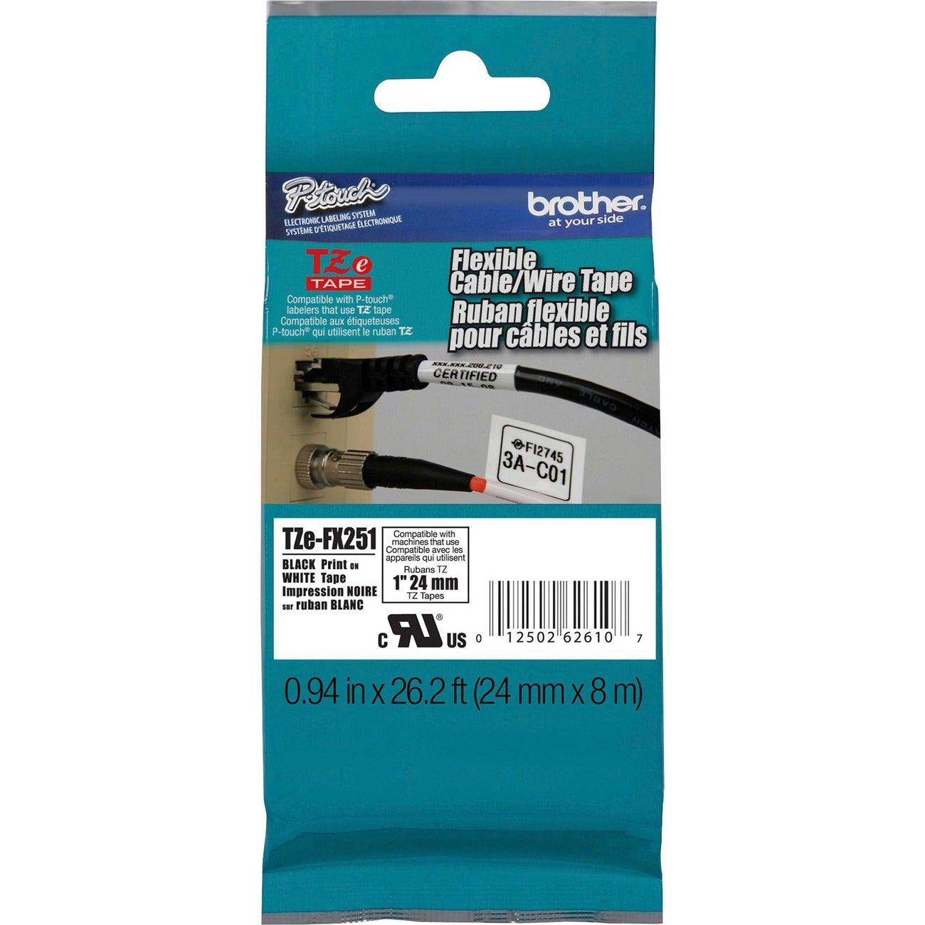 Brother TZE-FX251 Black on White Flexible Tape