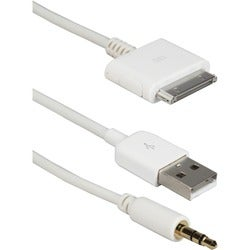 QVS Hi-fi Stereo Audio & USB Charger Cable for iPod, iPhone & iPad/2/