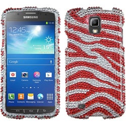 INSTEN Silver/ Red Diamante Phone Case Cover for Samsung i537 Galaxy S4 Active