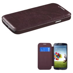 INSTEN Dark Brown Book-Style Phone Case Cover for the Samsung Galaxy S4