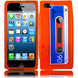INSTEN Orange Cassette 3D Rubber Soft Silicone Soft Skin Gel Phone Case Cover for Apple iPhone 5/ 5S