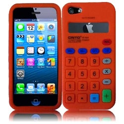 INSTEN Orange Calculator 3D Rubber Soft Silicone Soft Skin Gel Phone Case Cover for Apple iPhone 5/ 5S